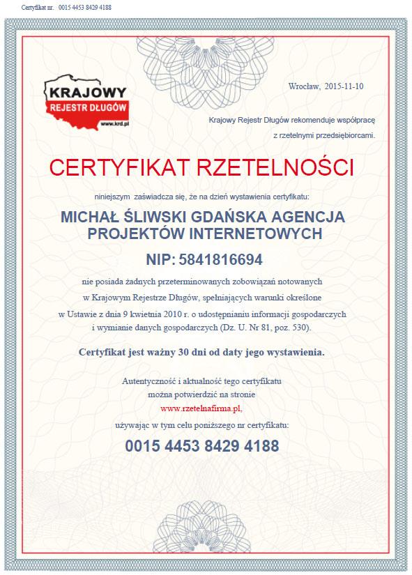 Certyfikat Rzetelności eGraw - pioro.co