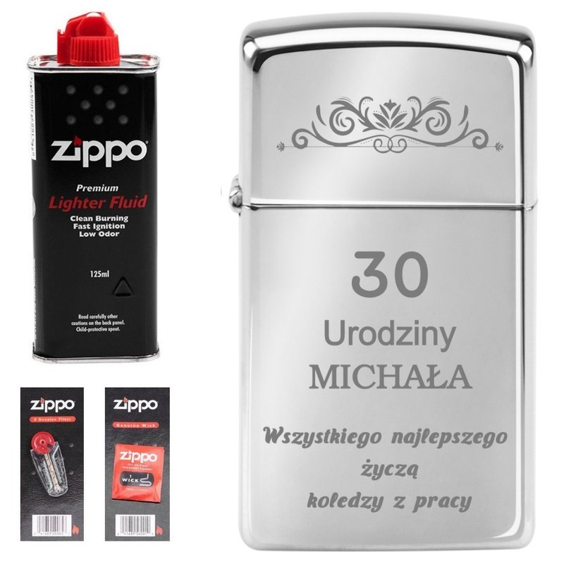 Zapalniczka ZIPPO z1610 Slim High Polish Chrome GRAWER