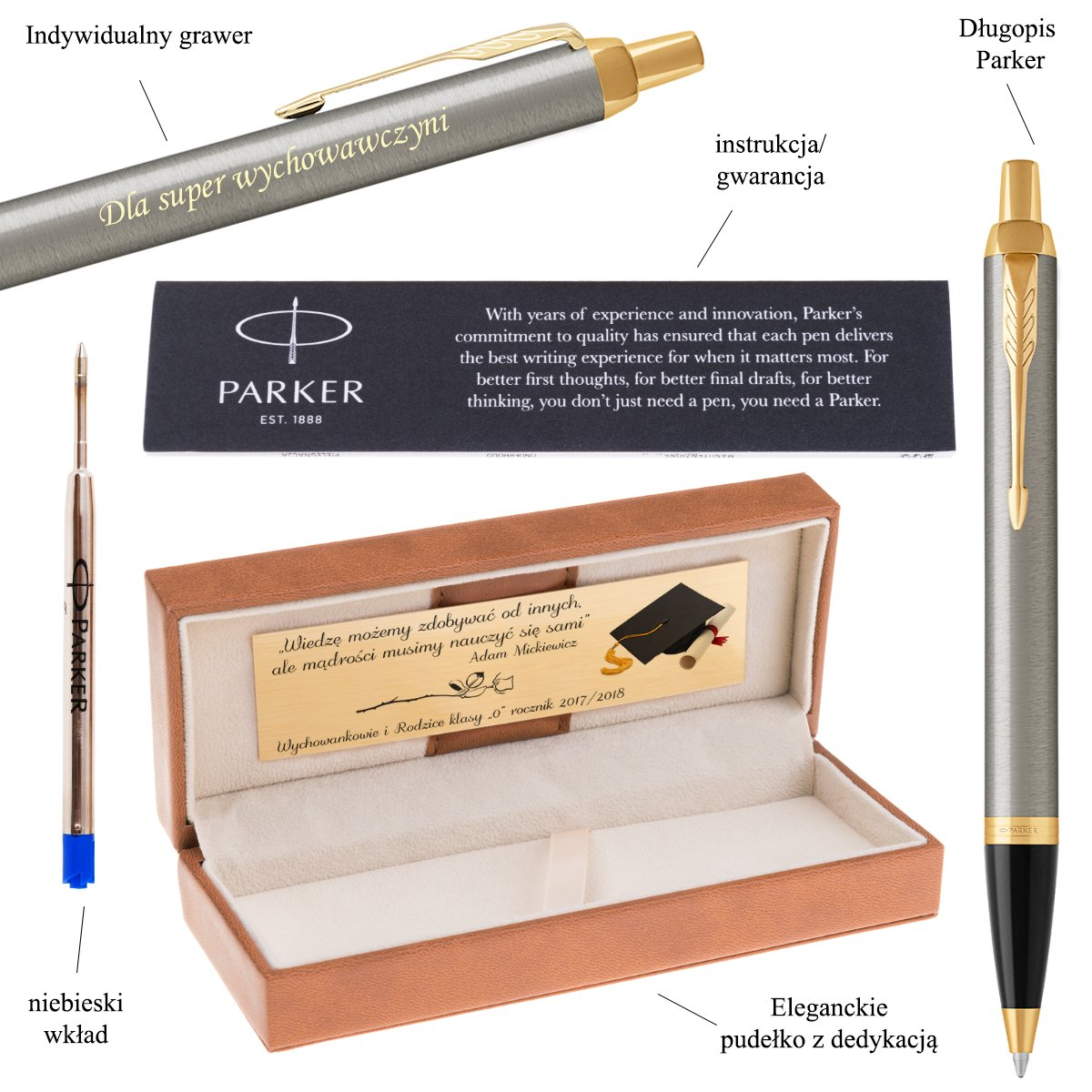 Parker IM Długopis Brushed Metal GT Grawer